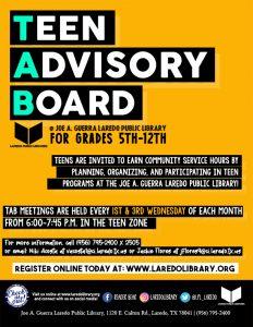 Teen Advisory Board - Official Meeting @ Joe A. Guerra Laredo Public Library