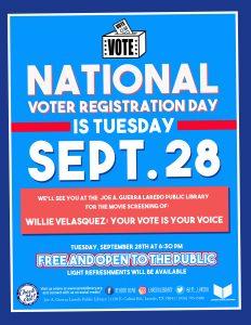 National Voter Registration Day movie screening
